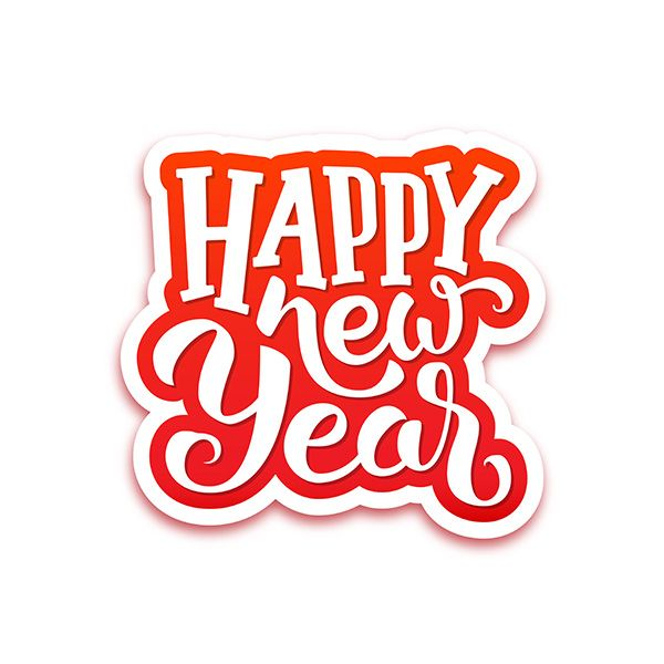 happy new year paper label with typographic text isolated on white background greeting card design