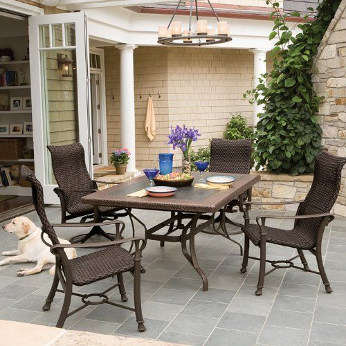 Tropitone Novara Woven Wicker 5-Piece Dining Package by Tropitone. $4296.00. The Tropitone Novara Woven Wicker 5-Piuece Dining Package is a set that will add a touch of elegance to your patio. The Novara Woven wicker outdoor furniture collection from Tropitone is Italian styling at its best.