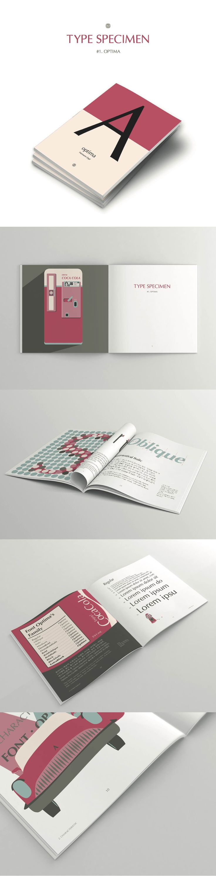 Project about type specimen Optima designed by Hermman Zapf illustrate design / graphic design / editorial design / typography design