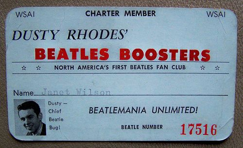1964 WSAI 1360 AM Cincinnati DUSTY RHODES BEATLES BOOSTER card