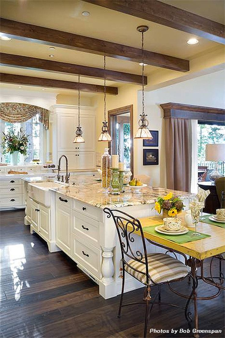 House Plan 48-625 #Houseplans #Kitchen. Couple of things. The wood boxed curtains. The island and kitchen layout