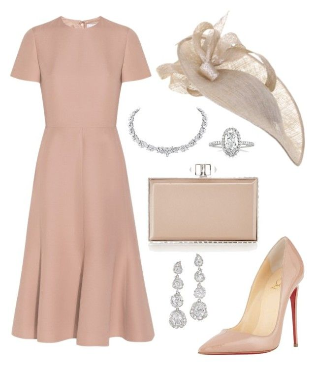 """Royal Ascot: pink nudes"" by laurenharty ❤ liked on Polyvore featuring Valentino, Judith Leiber, Christian Louboutin, JANE TAYLOR MILLINERY and Mark Broumand"
