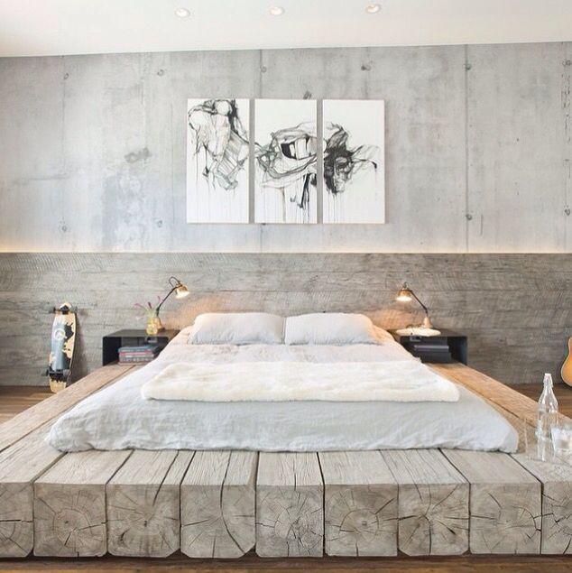 Деревянные блоки и бетон спальня #wood #concrete #bedroom: Дизайн интерьера, идея, кровати, спальни, Спальня Дизайн, промышленный спальней