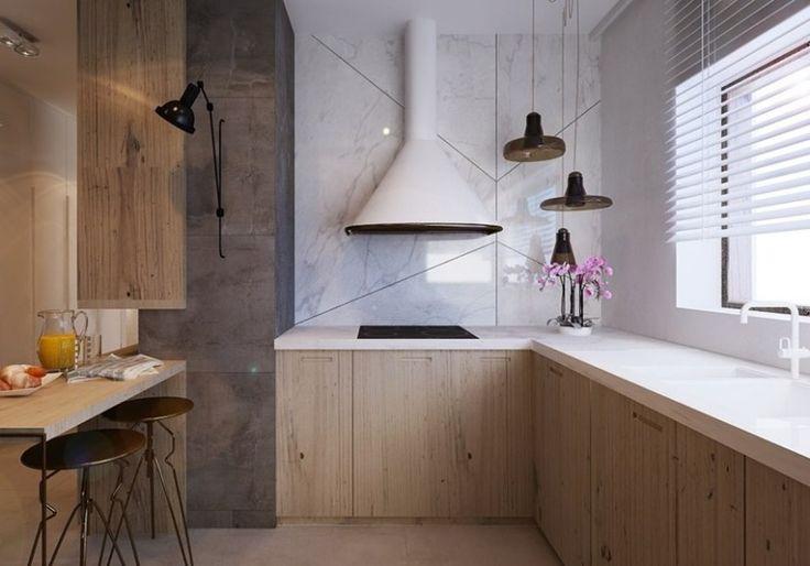 plan de travail cuisine en corian blanc et murs simili marbre et granit