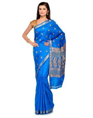 White Golden Zari floral silk saree Banarasi net design withblouse