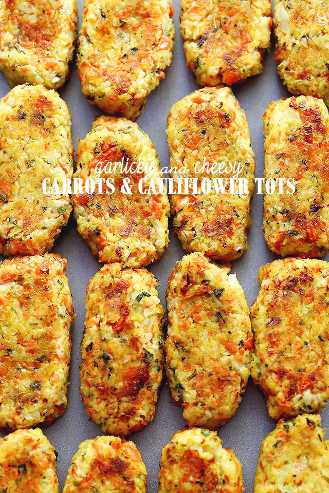 Garlicky & Cheesy Carrots and Cauliflower Tots - Baked, crispy, garlicky, and cheesy tots made of cauliflower and carrots.