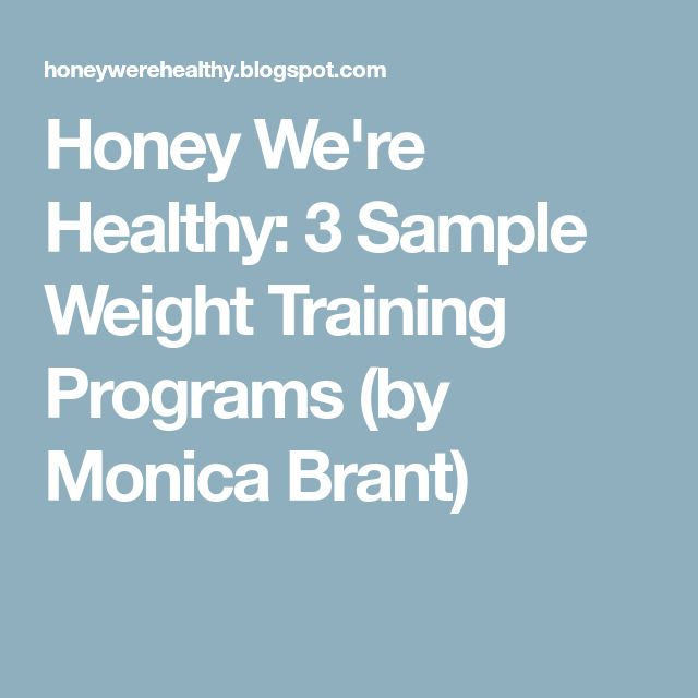 Honey We're Healthy: 3 Sample Weight Training Programs (by Monica Brant)