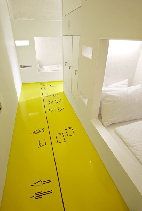 Want to paint icons on the floor in the hallway, showing what room you can enter - Floor graphics — Goli Bosi Design Hostel