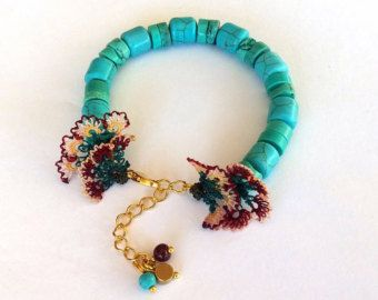 Turquoise Bracelet, Gemstone, Needle Work Flowers, Needle Lace, Gift, Women, Blue Bracelet