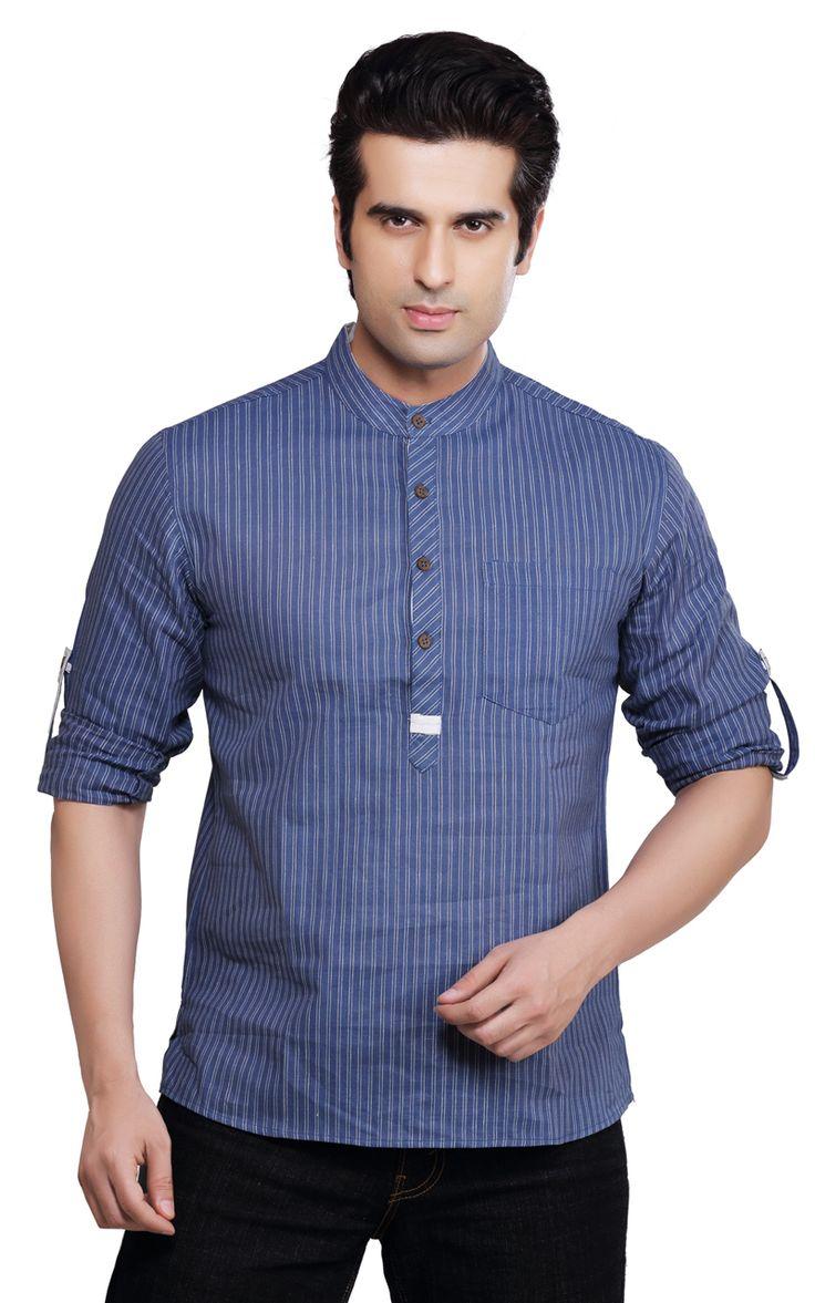 In-Sattva - Shatranj Men's Kurta Tunic Banded Collar Multi-Stripe Shirt, $34.99 (http://www.insattva.com/men/shatranj-mens-kurta-tunic-banded-collar-multi-stripe-shirt/)