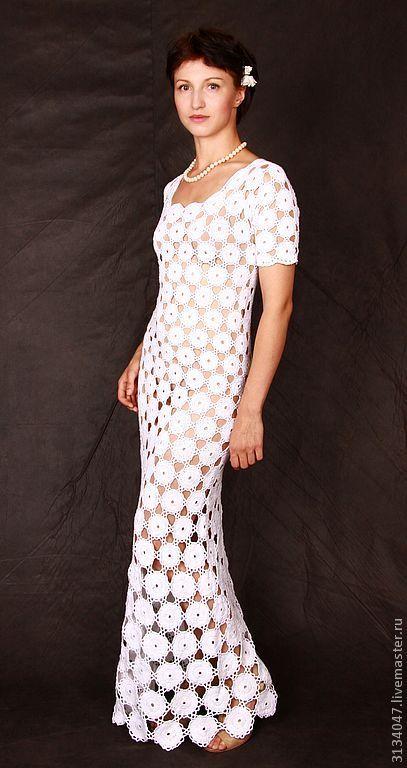 Купить Нежность - свадебное платье, вязаное платье, авторское платье, вечернее платье, платье в пол