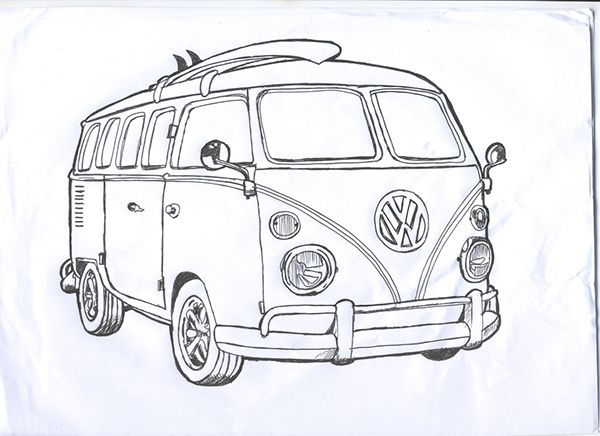 Line Drawing Bus : Best vw t line drawings images on pinterest