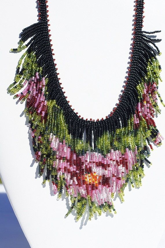 Necklace Beadweaving Tea Rose Finge Necklace Seed by Trendydeals, $95.00