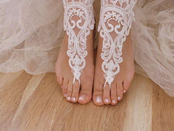 free ship ---- bridal anklet, ivory lace anklet, Beach wedding barefoot sandals, bangle, wedding anklet, anklet, bridal, wedding