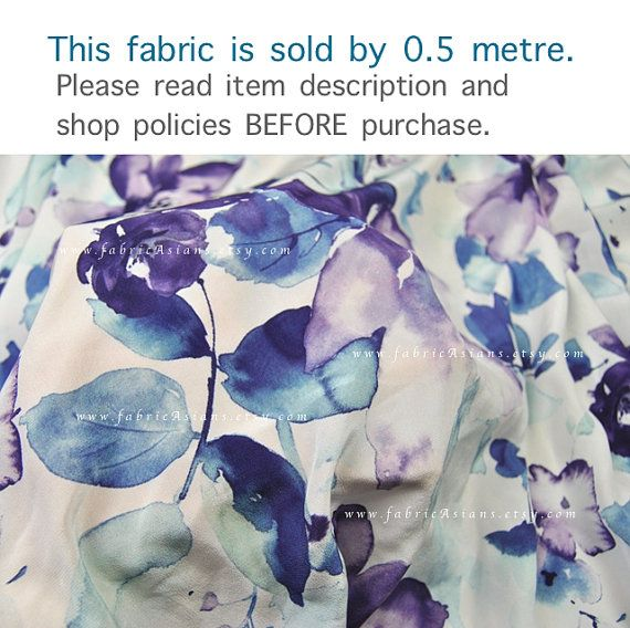 Purple Flowers. Printed Silk White Base by fabricAsians on Etsy