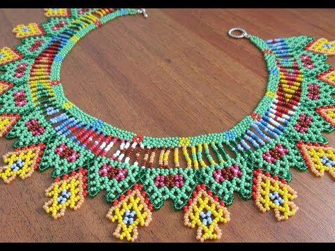 (1) Колье из бисера в технике уичоль. Necklace biseru .Beading - YouTube