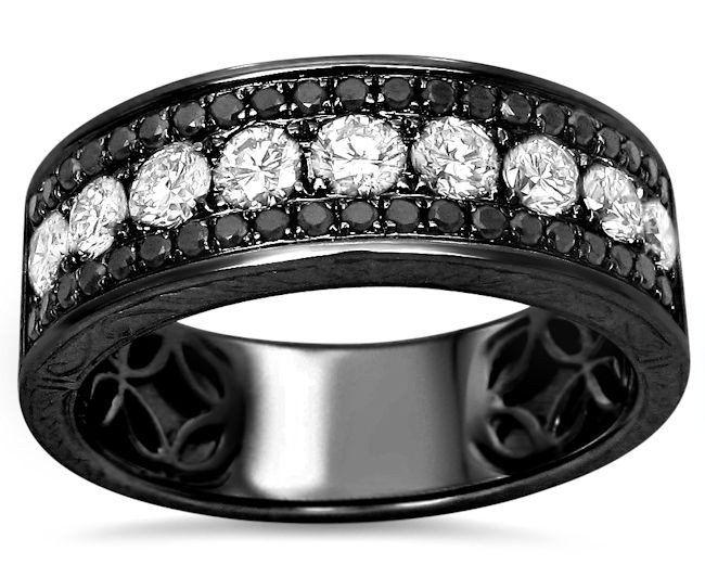mens 145ct black white round diamond pave wedding band ring 14k black gold 1