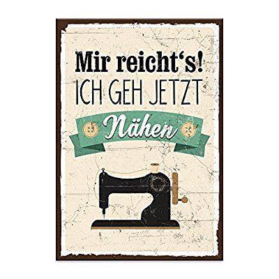 """Holzschild """"Mir reichts. Ich geh jetzt nähen!"""" - shabby chic retro vintage Typografie Bild im used-look aus MDF-Holz, Schild, Wandschild, Türschild, Holztafel, Holzbild mit Spruch / Zitat / Aphorismus als Geschenk und Dekoration zum Thema Nähen, Nähmaschine, Basteln, Hobby, Nadel und Faden (19,5 x 28,2 cm)"""