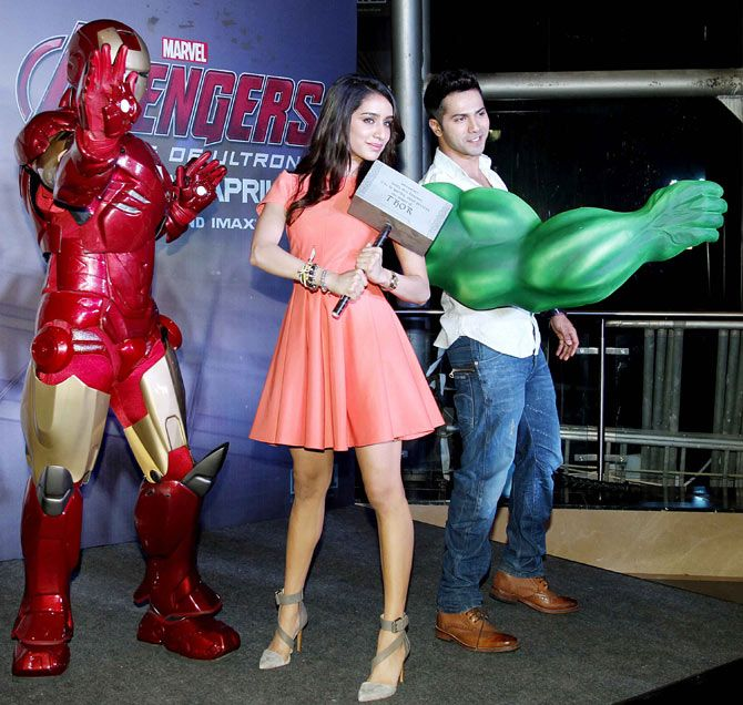 Varun Dhawan and Shraddha Kapoor at the screening of 'Avengers: Age of Ultron'-