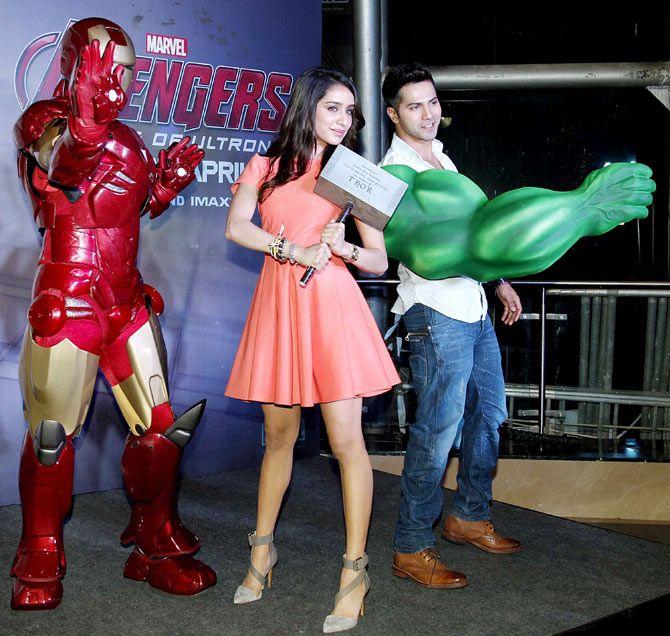 Varun Dhawan and Shraddha Kapoor at the screening of 'Avengers: Age of Ultron'-