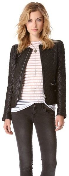 $1,099, Black Quilted Leather Bomber Jacket: Anine Bing Quilted Leather Jacket. Sold by shopbop.com. Click for more info: https://lookastic.com/women/shop_items/181698/redirect