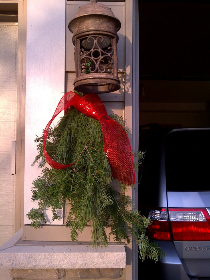 Christmas '11 Swags made from planter box extra's.