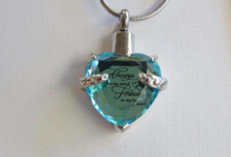 Cremation urn keepsake necklace with Stainless steel blue heart with funnel kit