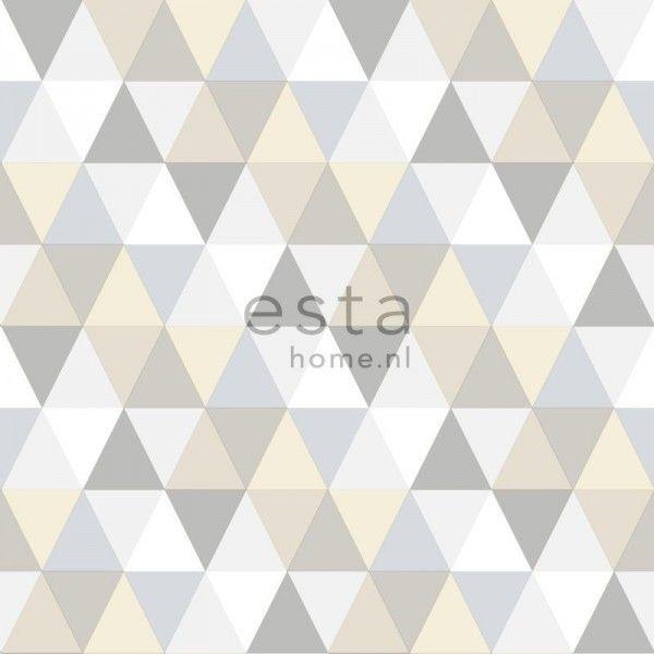 128707 krijtverf vliesbehang driehoekjes licht grijs, beige en wit