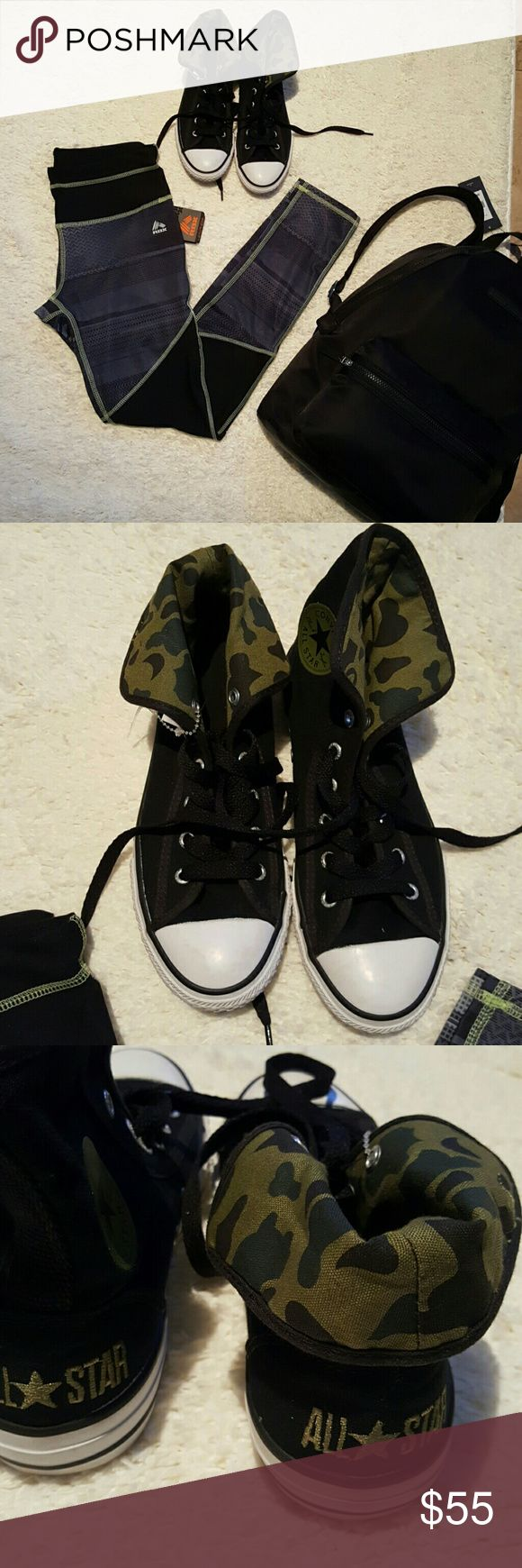 Hi Cut Converse Ladies Sneakers New without a box!! Never worn.  These sneaker shoes  has a lot of transition from dressy to athletic look and a like, inner camouflage ankle fabric, rubber sole. Size: 4 (6.5). True to size. PRICE IS FIRM UNLESS BUNDLE! Thanks for understanding. Converse Shoes Sneakers