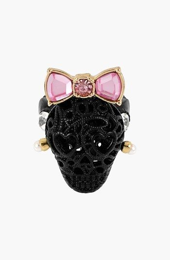 Betsey Johnson Bow & Lace Skull Stretch Ring available at #Nordstrom  LOVE!!!!!