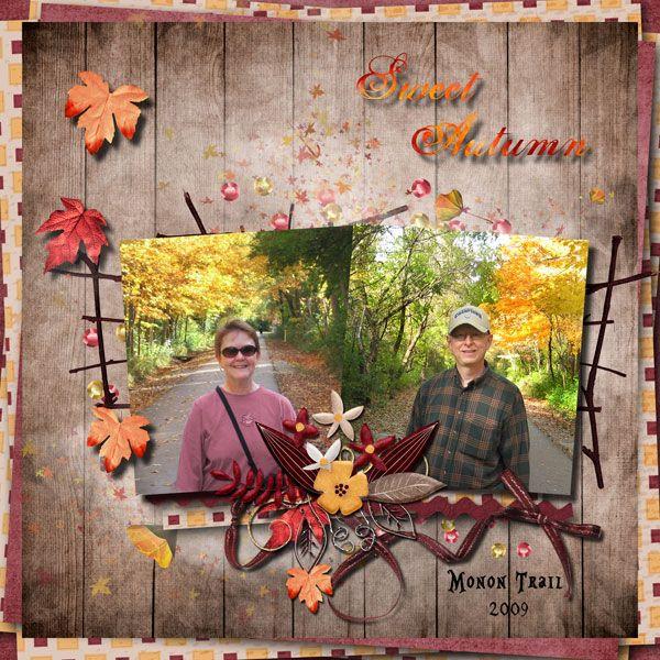 Sweet Autumn on the Monon Trail by Tbear. Kit used: Sweet Autumn collab http://scrapbird.com/kits-c-446/scrapbird-collab-c-446_113/sweet-autumn-p-16952.html