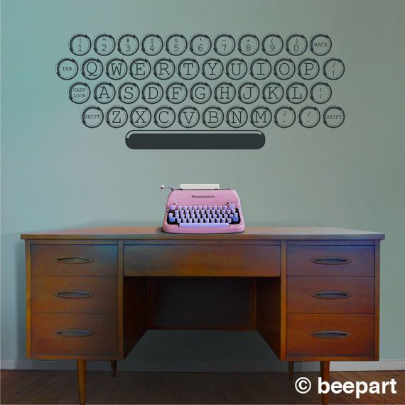 vintage typewriter vinyl wall decal office writer author