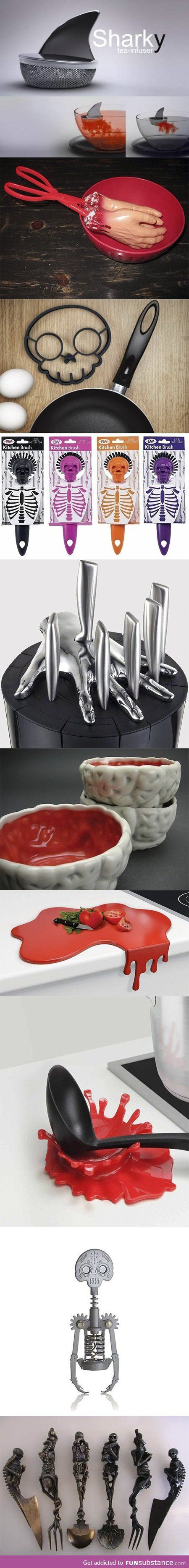 Unique kitchen utensils, featuring skeletons and body parts. I love the knife block :)