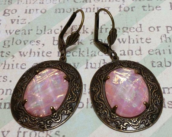 SALE Pink Faux Opal Earrings Gifts Under 10 Dollars