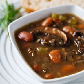 Butter Bean Soup with Portabellas and Wild Rice  Looks yummy