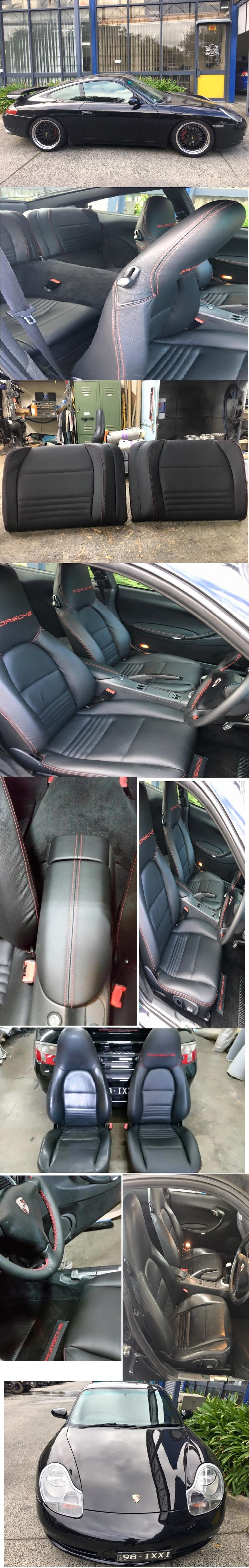 Porsche Carrera. Retrim front & rear seats in Italian leather. Embroidery PORSCHE on headrests. Red stitching. Retrim doortrims armrests,console lid, console panel,gearshift boot,steering wheel in Italian leather with red stitching. Embroidery PORSCHE on front carpets.