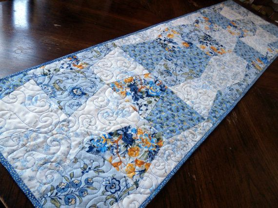 Blue and Yellow Quilted Table Runner  Scrappy by Pamelaquilts