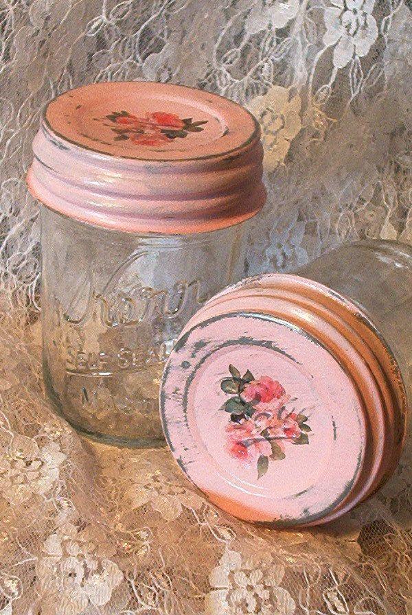 Shabby chic Rosen zwei halbe Bier Gelee Gläser rose von sparkklejar
