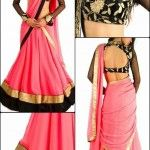 Black full sleeves collar neck blouse with gold thread for pink half saree