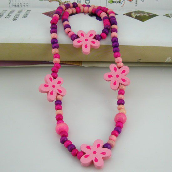 0 Children jewelry best baby products!Wholesale children/kid jewelry set handmade wood flower necklaces CS09