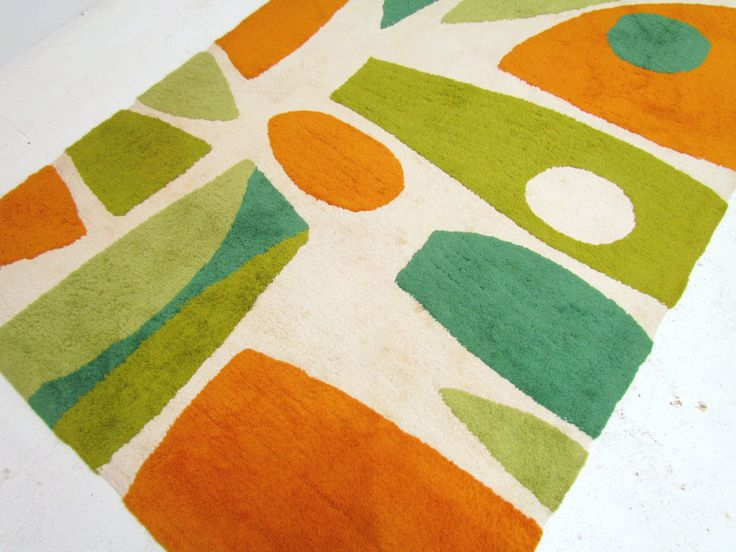 Mid-Century Modern Abstract Area Rug ca.1960s | From a unique collection of antique and modern more carpets at https://www.1stdibs.com/furniture/rugs-carpets/area-rugs-carpets/