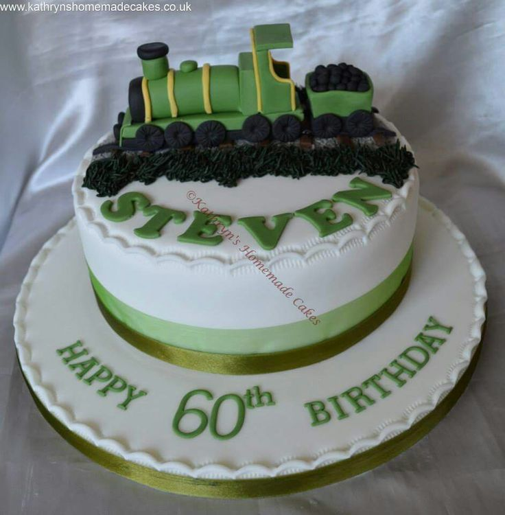 60th Birthday cake with train cake topper Adult Birthday ...