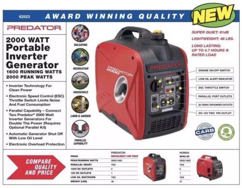 Free 2 Day USPS Priority Ship Predator 2000 Watt Generator Inverter Super Quiet