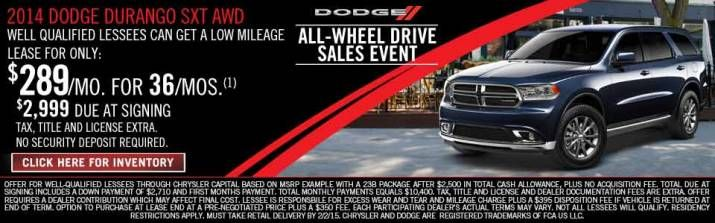 Lease a Dodge Durango for only $289 a month.  Visit artiolidodge.com
