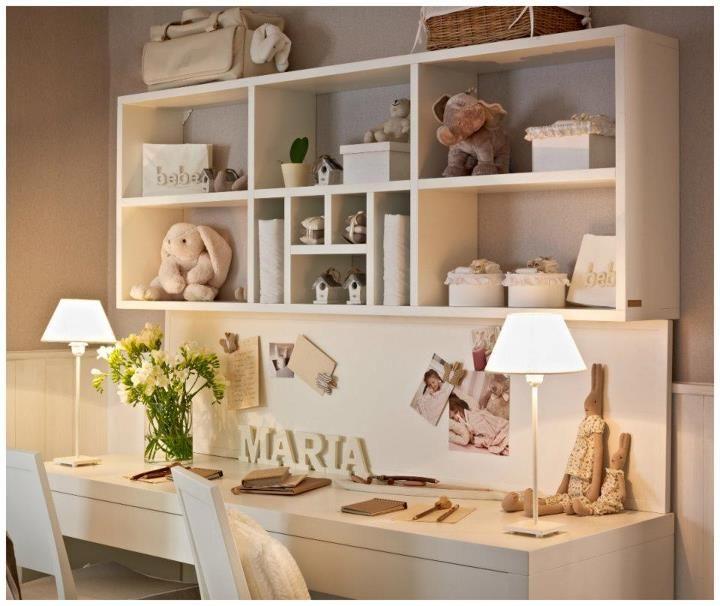 desk and shelf idea for girl's room