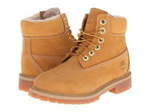 Timberland Kids 6 Premium w/ Faux Shearling (Big Kid) (Wheat Nubuck) Kids Shoes
