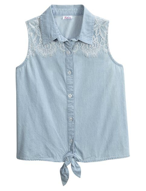 Tie Front Sleeveless Denim Shirt