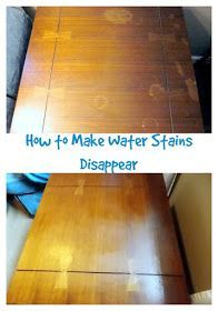 Recipe for removing Water Stains and marks from furniture: Olive Oil Table Salt Mix the olive oil and the salt in a bowl to make a thick paste.  Then, simply rub the paste onto the damaged area.  I made mine pretty thick, and just sat it on the areas where I had damage.  Leave sit for approximately :30 minutes, and wipe all excess paste off of furniture.  All of the stains will magically be gone!
