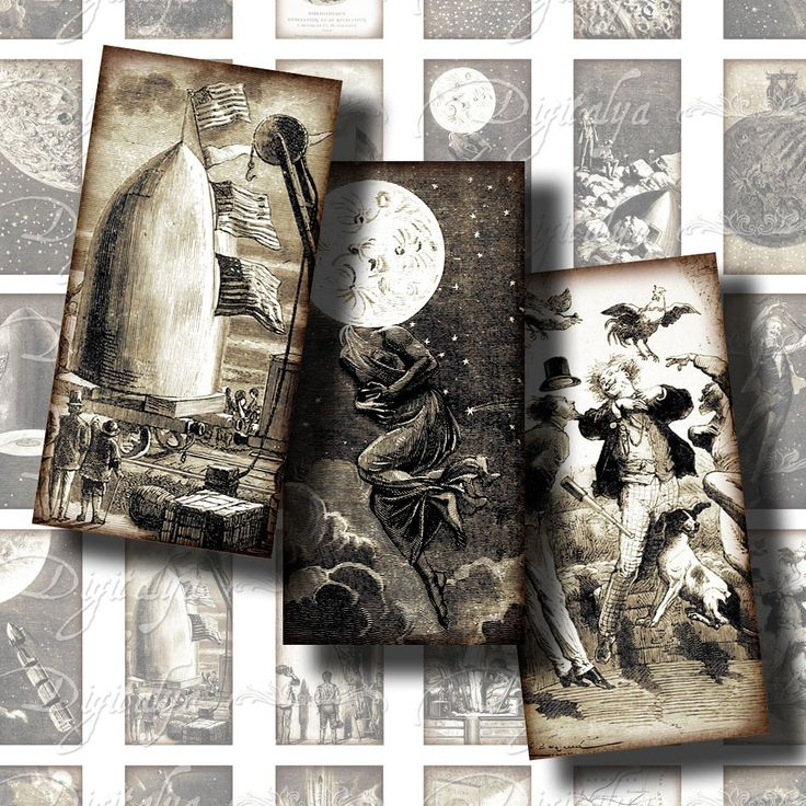 De la terre à la Lune - 30 Dominos 2,54x5,08 cm - Page A4 Imprimable : Accessoires pour bijoux par digitalya