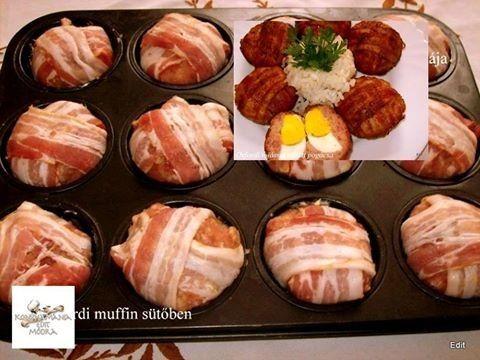 Hozzávalók:60 dkg darált hús20 dkg főtt áttört burgonya1 db tojás 6db főtt tojás12 db bacon szalonnasóborspirospaprikavöröshagyma-fokhagyma...